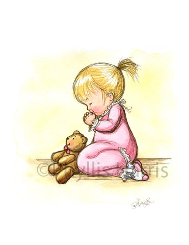 Little Girl Praying- The faith of a child - Girls Nursery Wall Art Print