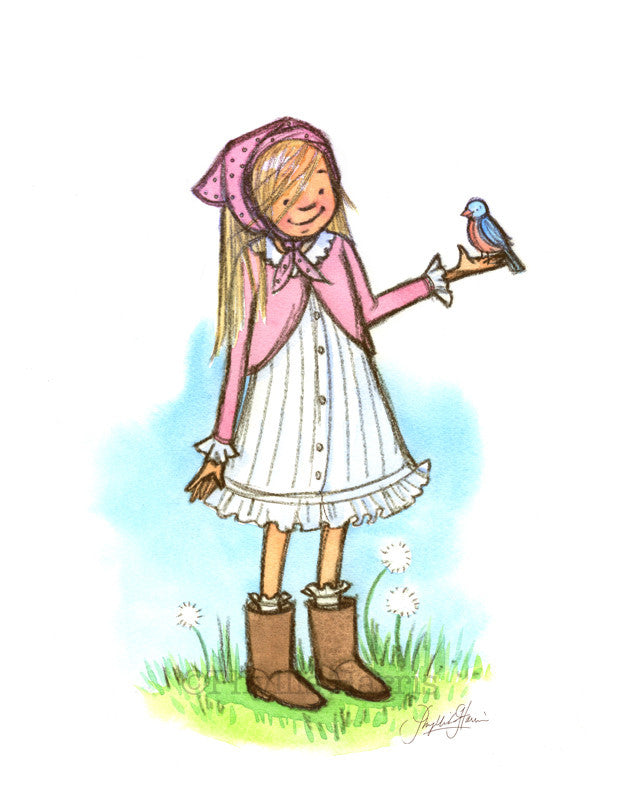 Little Girl With Bluebird - Children's Wall Art