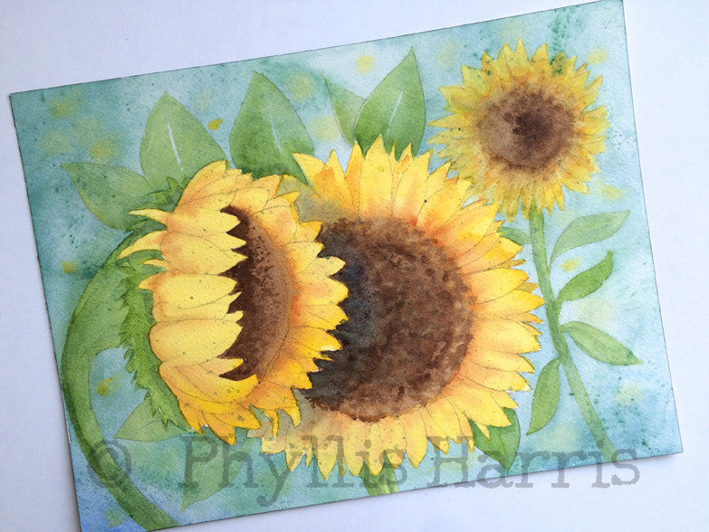 Original Sunflower Watercolor Painting by Phyllis Harris