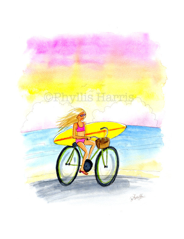 Surfer Girl on Bicycle - Art for Surfer Girls