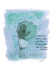 Umbrella Girl -To Everything There is A Season  - Wall Art - Choose your color to fit your decor