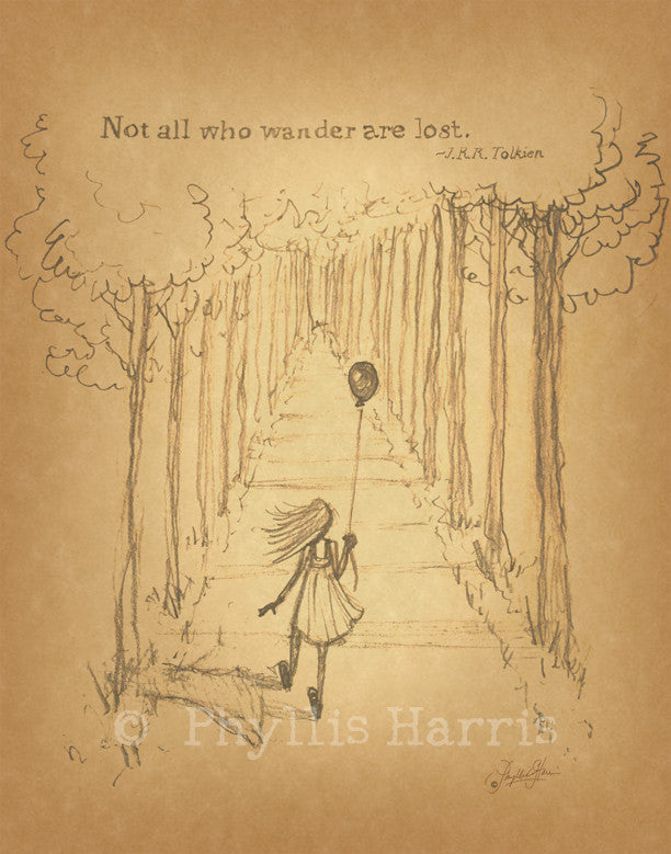 Vintage Sketch Study of little girl walking into the woods - Wall art print