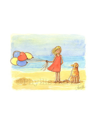 Windy on the Beach - - Ocean themed Children's Art