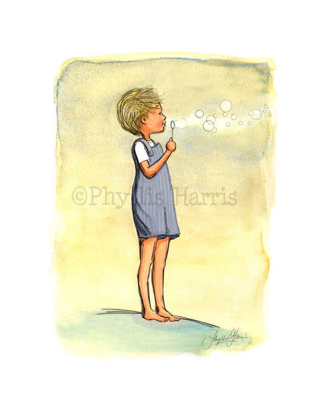 Boy Blowing Bubbles - Boy's Nursery Wall Art