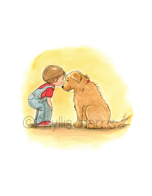 First Love Illustration - Little Boy and Golden Retriever -Beloved Pet Art