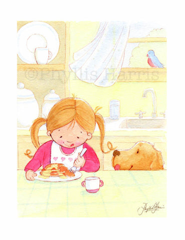 Breakfast with my best friend - children's room decor- Customizable Hair Color