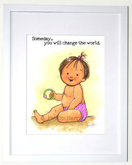Change The World - Nursery Wall Art for Girls - Hair color is customizable