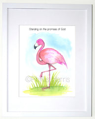 Flamingo Art Print - Offered with or without text