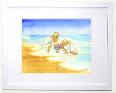 Seaside Children With Toy Sailboat - Wall Art