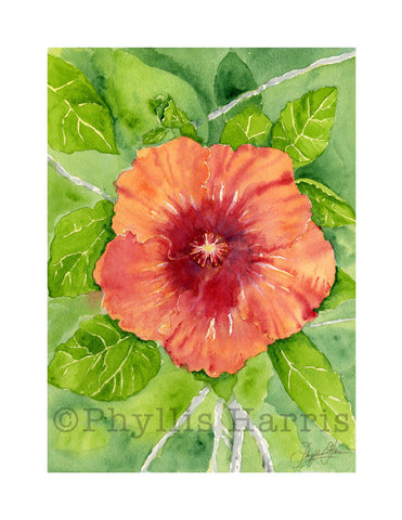 Watercolor Hibiscus Wall art - wall art print