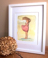 Dandelion Girl Wall Art - Make A Wish - Children's Wall Art