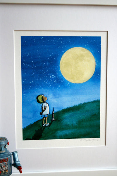 Little Boy And The Man In The Moon Boy S Wall Art As
