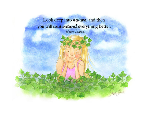 Little Girl in English Ivy - Enjoy nature wall art - Pink and Green Nursery Art