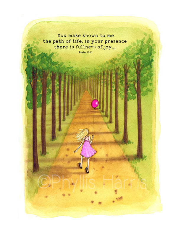Walk in the Woods with Balloon - Little girl and a balloon wall art