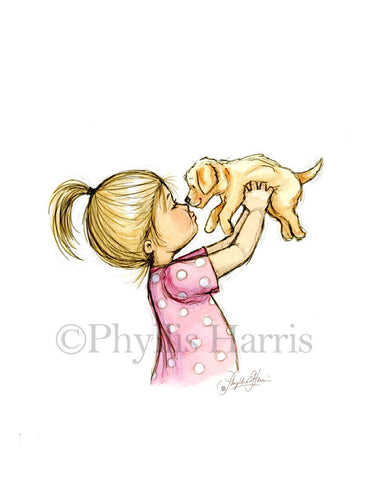 Puppy Love - A litttle girl and her golden retriever puppy - Girl's Nursery Wall Art