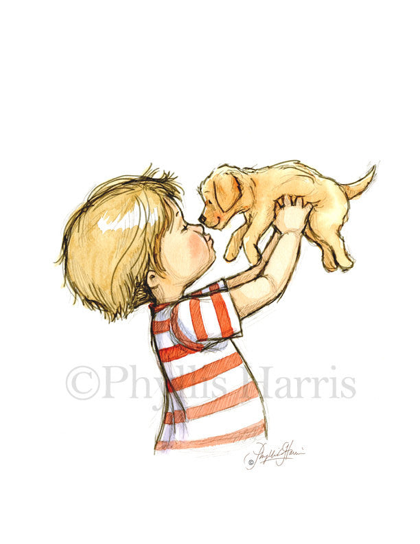 Puppy Love - A litttle boy and his golden retriever puppy - Boy's Nursery Wall Art