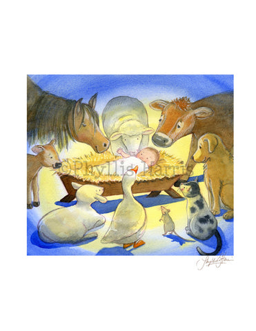 Christmas Wall Art Print - Baby Jesus in a manger with adoring animals