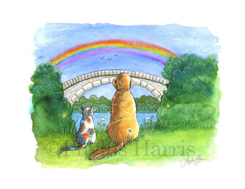The Rainbow Bridge Art Print - Loss of Beloved Pets