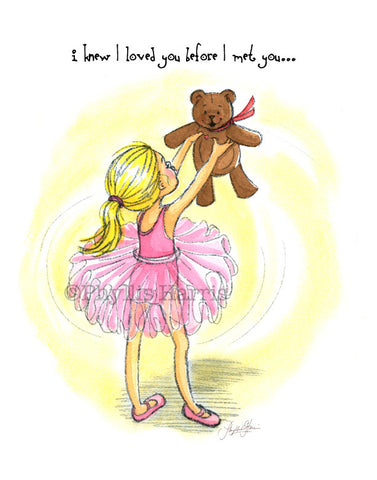 Ballerina and Teddy Bear art - Gift for the expectant mother