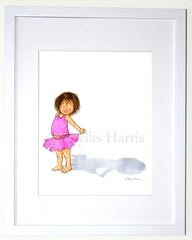 Just Me and My Shadow Wall Art - Custom hair color options - Pink Girl's room decor