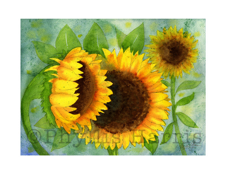 Watercolor Sunflowers Wall art - wall art print