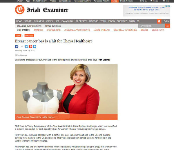 Breast cancer bra is a hit for Theya Healthcare, Irish Examiner.
