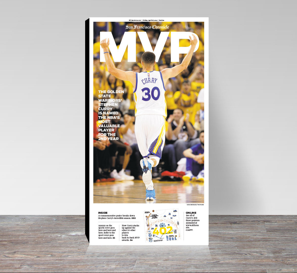 28abaea5 Golden State Warriors Steph Curry MVP print - San Francisco Chronicle  online store