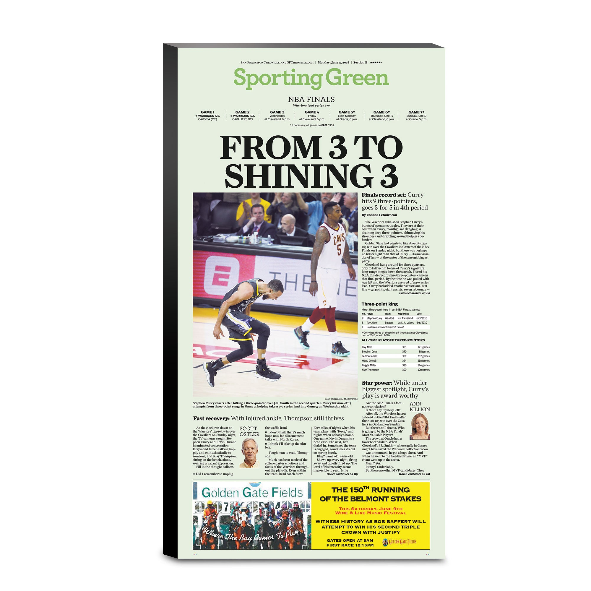 a1f011be4f185f Warriors 2018 NBA Finals Game 2 - 6 4 18 sporting green cover - San  Francisco Chronicle online store