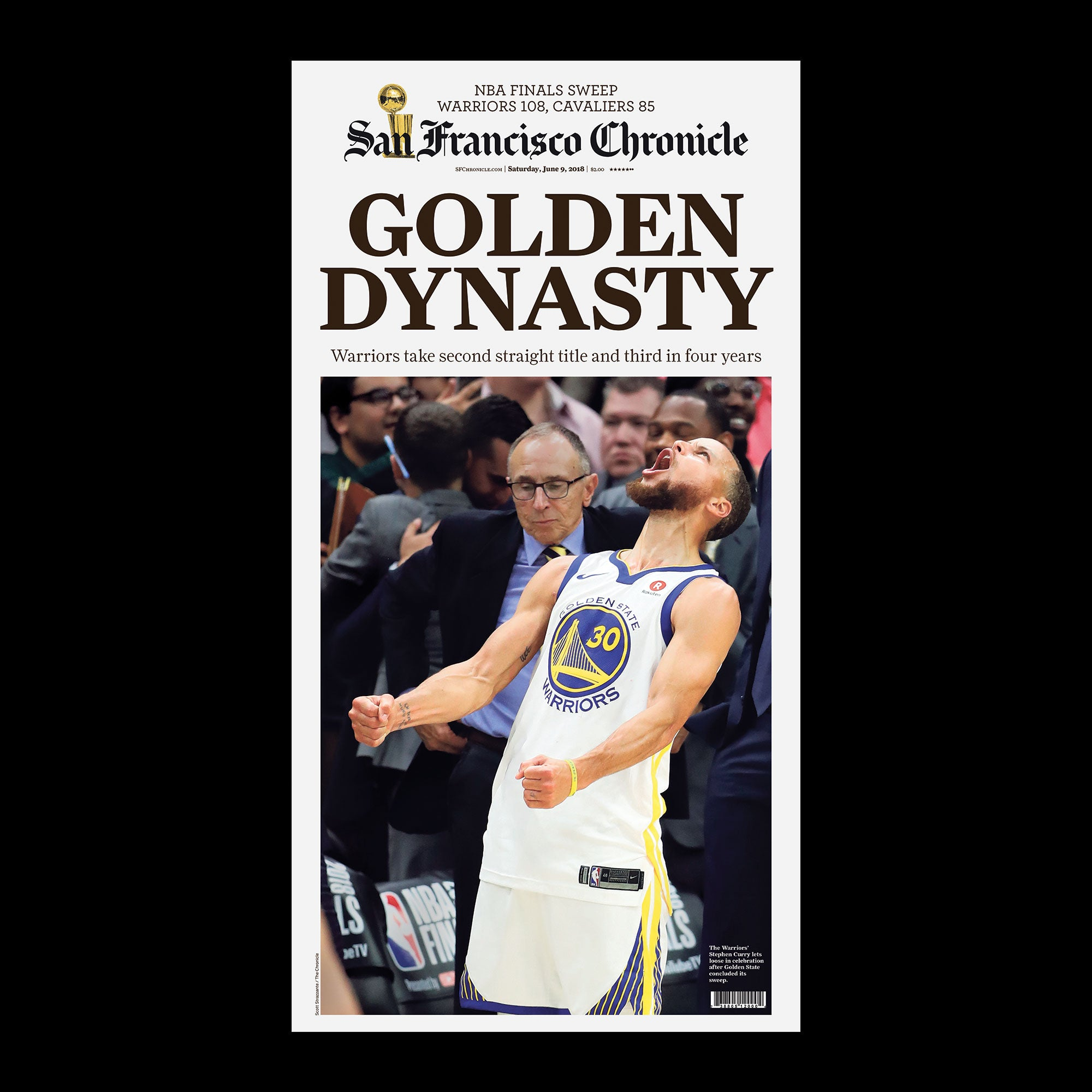 3ce76c93bf0 Warriors 2018 NBA Golden Dynasty Game 4 Championship T-shirt (Black or  Royal Blue)
