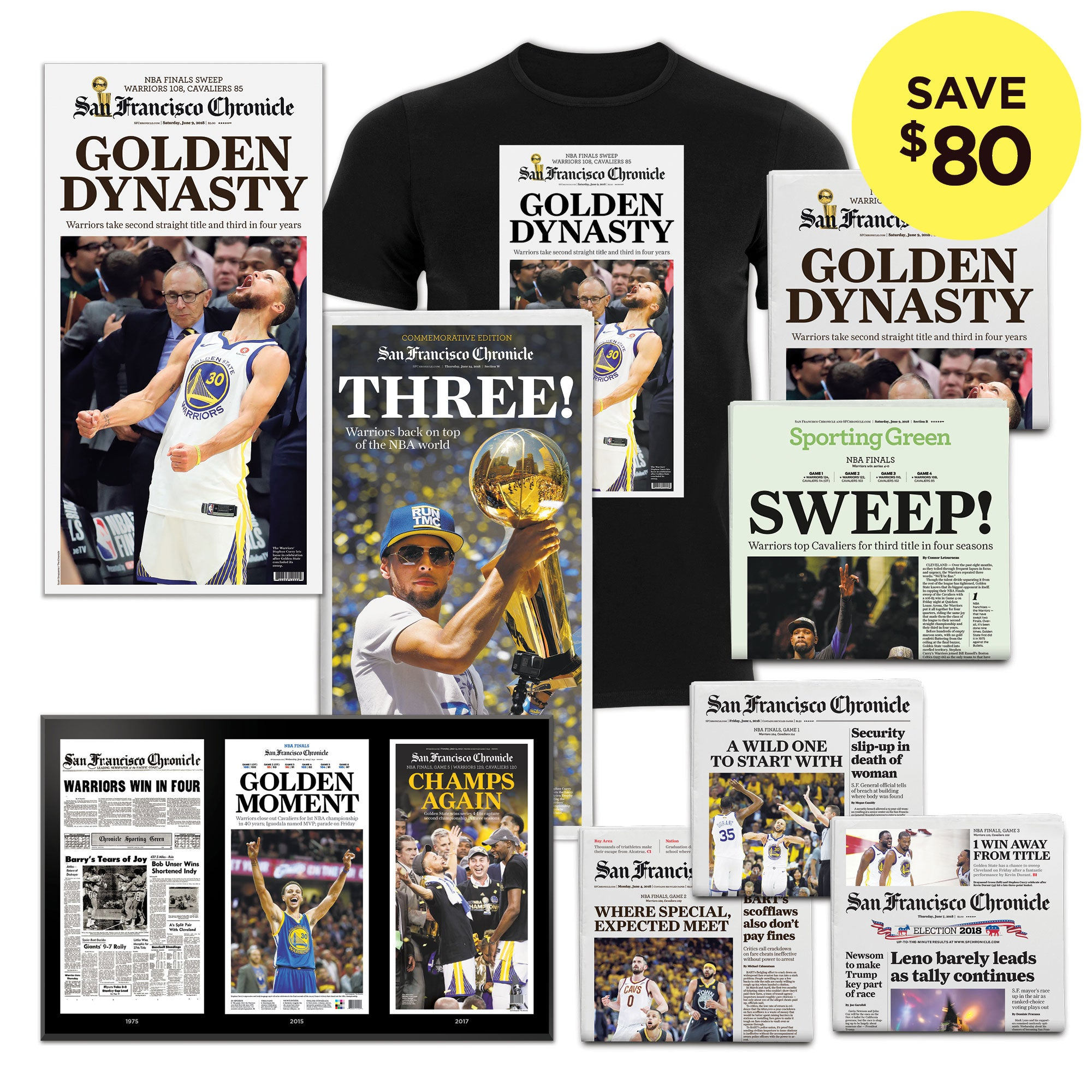 4cf7fff1fa8 Warriors 2018 NBA season Golden Dynasty superfan bundle - San Francisco  Chronicle online store