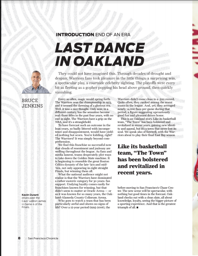 SF CHRONICLE  GOLDEN DYNASTY  WARRIORS BACK TO BACK 2018    newspaper  magazines