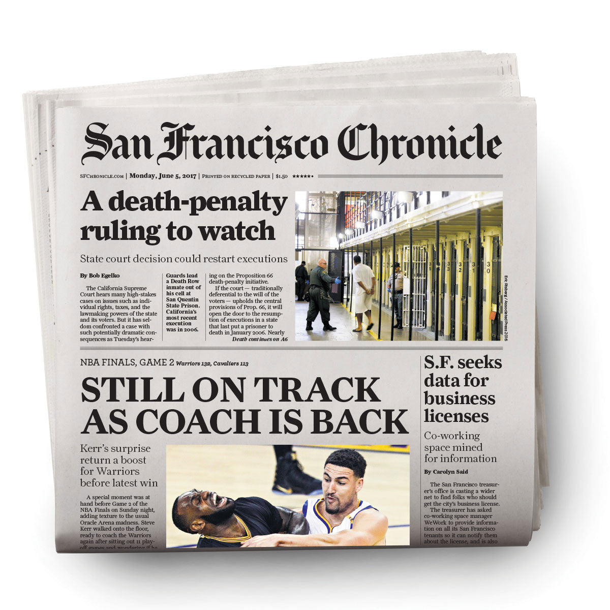 Warriors 2017 NBA finals Game 2 newspaper 6/5/2017 - San Francisco Chronicle online store