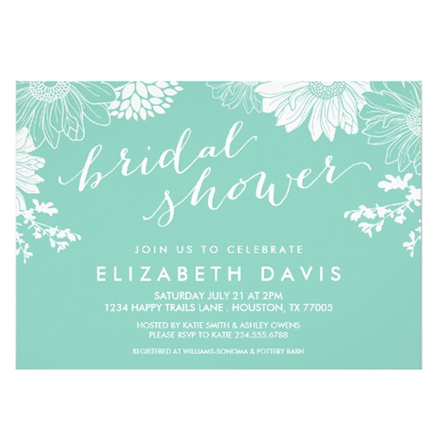 Aqua Modern Floral Bridal Shower Invites