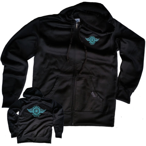 Chop Shop Performance  Zip Hoodie // Water Resistant // Black