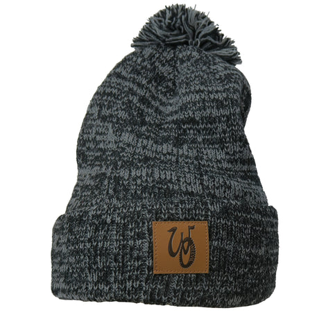 Monogram Pom Beanie // Grey/Black