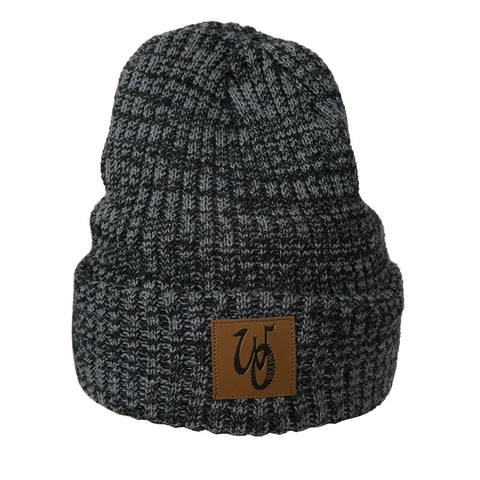 Monogram Beanie // Grey/Black // Fleece Liner