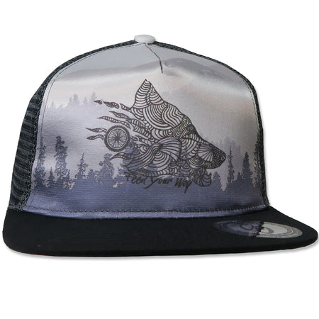 Feed Your Wolf Hat // Monochrome Print // White / Black