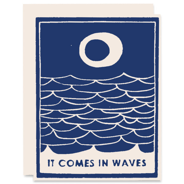 Comes in Waves </h6>Letterpress Card in Navy