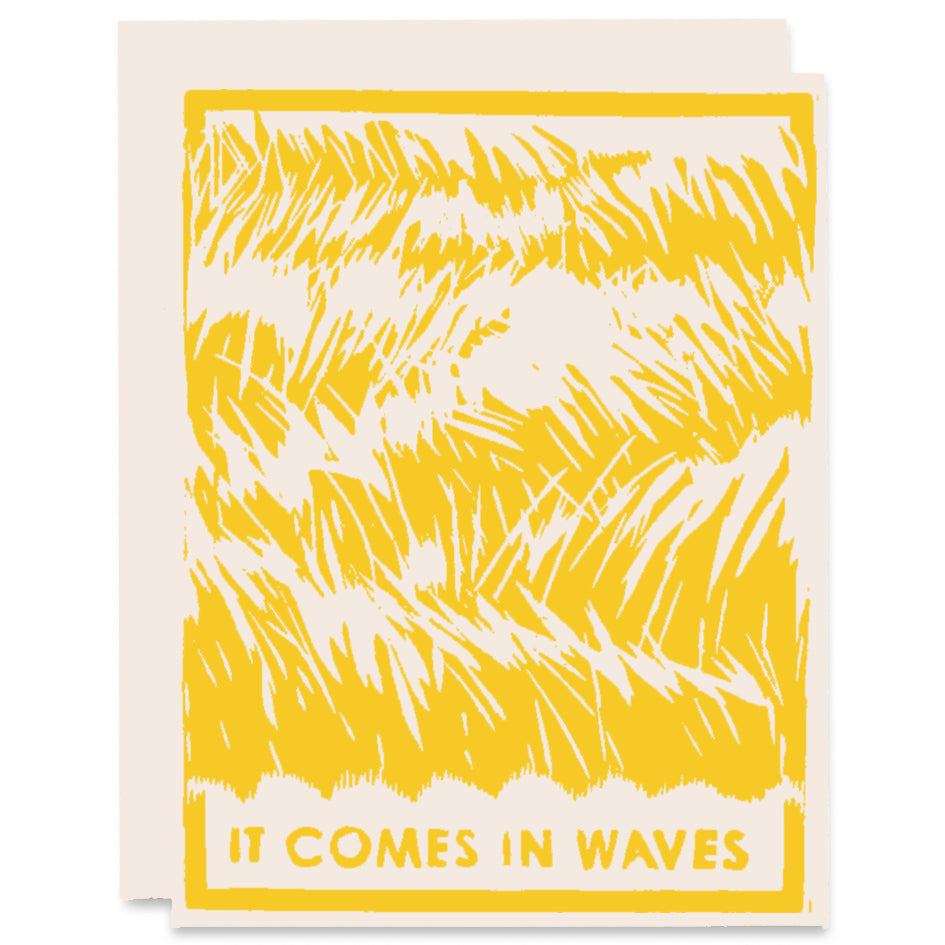 Comes In Waves Letterpress Card in Gold