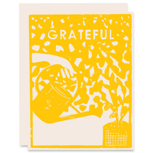 Grateful Leaves Letterpress Card