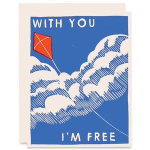 With You I'm Free Letterpress Card