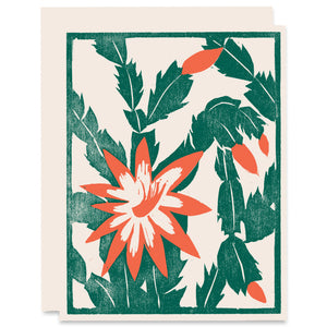 Christmas Cactus Letterpress Card
