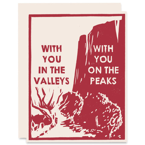Valleys and Peaks Letterpress Card