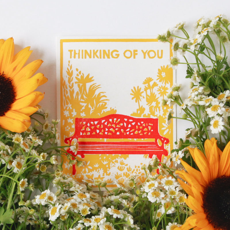 Thinking Of Sunflowers Letterpress Card