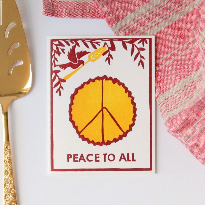 Peace Of Pie Letterpress Card
