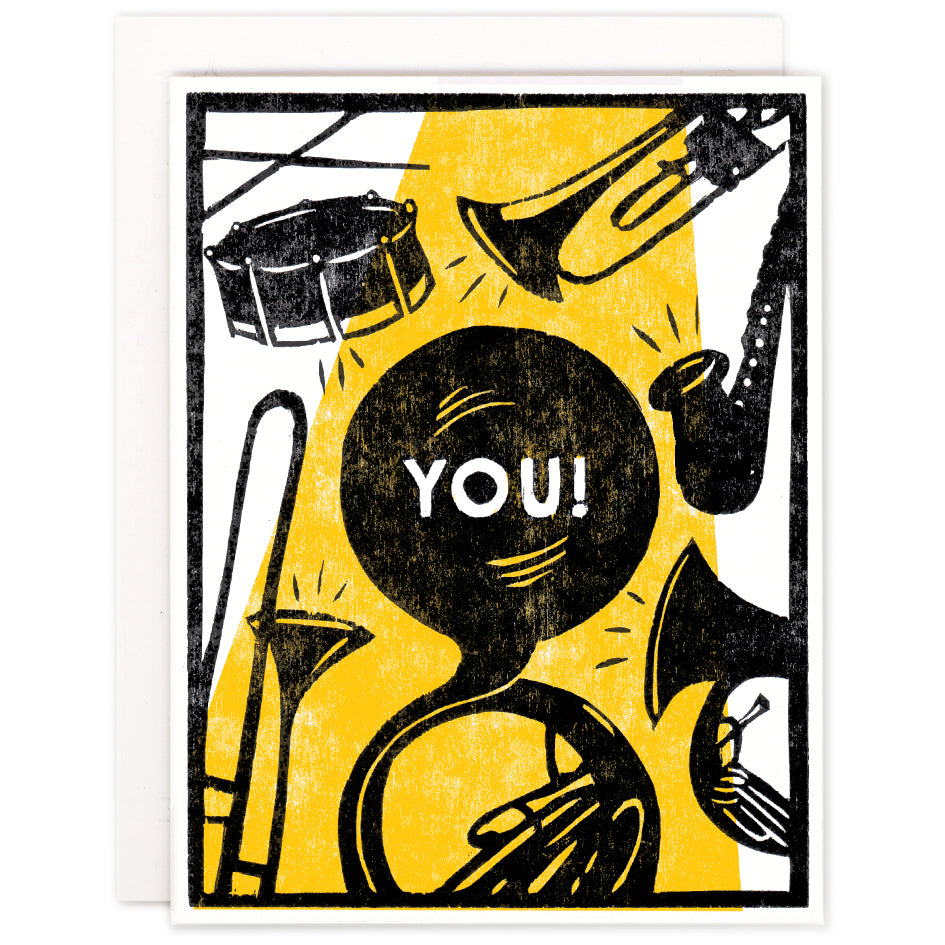 Brass Band For You Indigo Printed Card