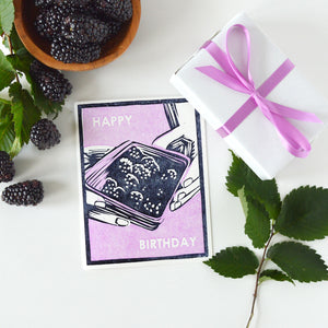 Blackberries For Your Birthday Letterpress Card
