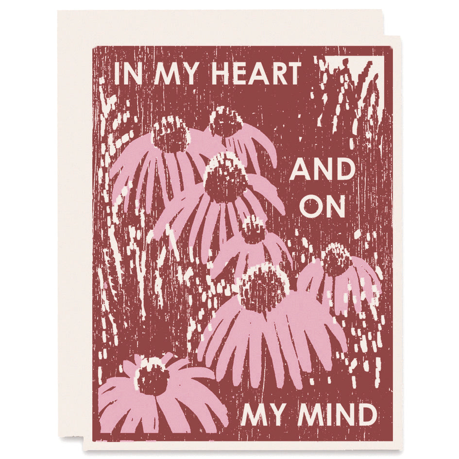 Coneflowers On My Mind Letterpress Card
