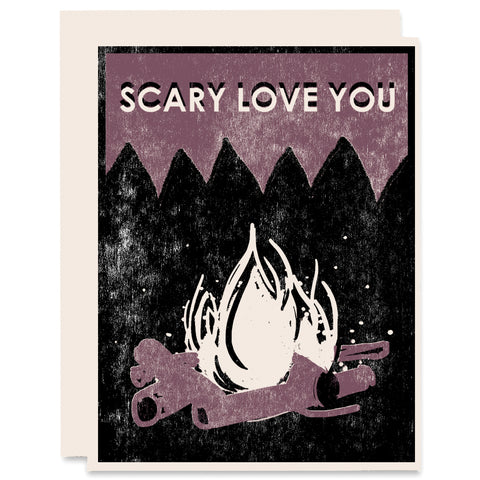 Scary Love You Letterpress Card