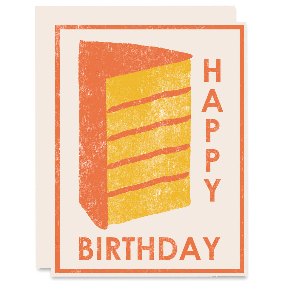 Happy Birthday (Yellow Cake) Letterpress Card